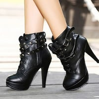 Fashion rivet waterproof boots Heels
