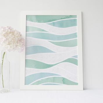 Watercolor Ocean Waves Minimalist Art Print