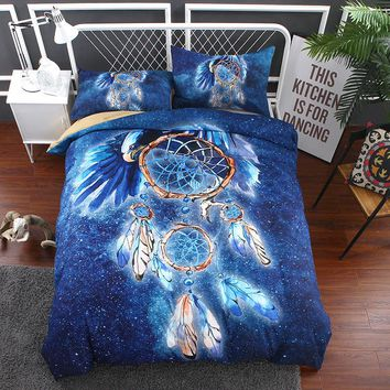 3D Dancing Feather Dreamcatcher Duvet Cover Set Bohemian Bedding Set Boho Blue Hippie Bedspread US Twin Full Queen King Size