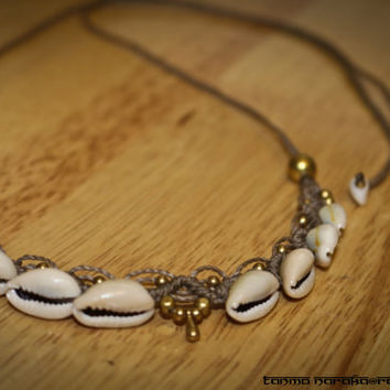 Macramé Necklace Tiara with Healing White Agate Brass and Cowrie Shell – Gypsy Bohemian – Hippie – Native