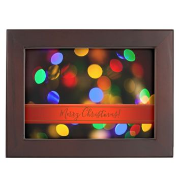 Multicolored Christmas lights. Add text or name. Keepsake Box