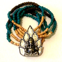 Ganesh Ethnic Hindu Indian Bracelet With Wood Beads