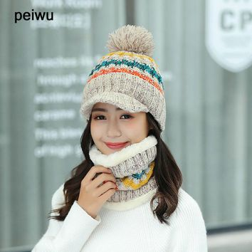 Double-deck Knitted  Female Winter Brim  Hats  Braid Cap Headgear For Women Skullies Beanies  Scarf Ring 1 set