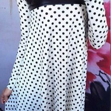 Polka Dot PU Leather Long Sleeve Dress