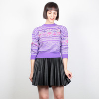 Vintage 1980s Sweater Bright Purple Southwestern Print Knit 80s Jumper New Wave Neon Cosby Sweater Crop Sweater Navajo Aztec Knit S Small XS