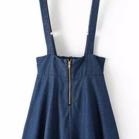 Navy Strappy Zipper Denim A-line Mini Skater Skirt