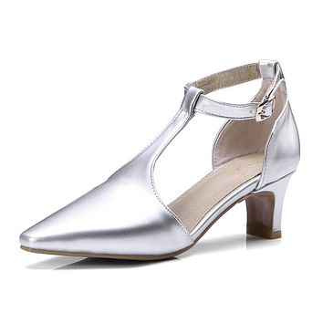 Pointed Toe Patent leather T Strap Chunky Heel Sandals 8462