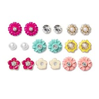 Pearl, Crystal and Assorted Flowers Stud Earrings Set of 9  | Icing