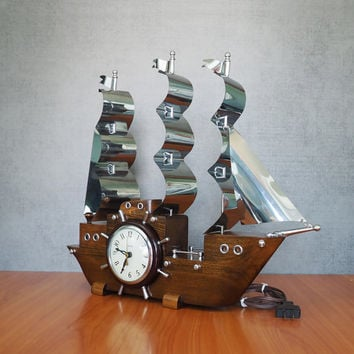 Vintage Wooden Clipper Ship Mantle Clock by United Clock Corp USA, Nautical Maritime Decor