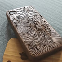 Walnut wood iphone 4 case iphone 4s case flower iphone 4 case