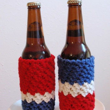 Fourth of July Party Koozies Two Bottle Sleeves Red White and Blue - Patriotic USA - Party Favor