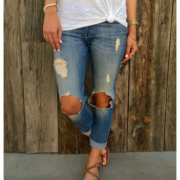 Supercute Torn, Faded, and Cuffed Boyfriend Jeans