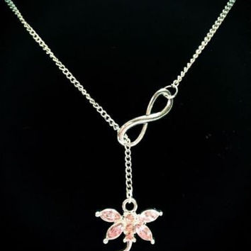 Infinity Pink Rhinestone Dragonfly Valentine's Gift Lariat Style Necklace