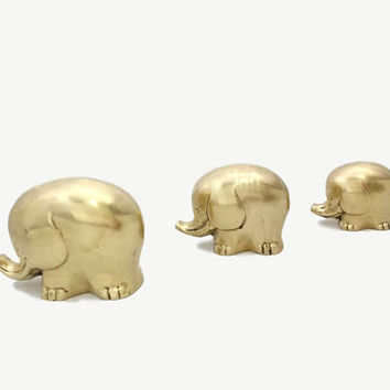 Brass Elephant Family Set 3 Figurines Vintage Mid Century Modern Gold Home Accents Statuettes Mother Babies Animal Childs Nursery Room Decor