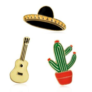 Trendy 1 pcs creative cactus black hat guitar alloy brooch button pins denim jewelry jacket pin badge for clothes metal lapel pins AT_94_13