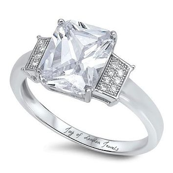 4.4CT Perfect Emerald Cut Russian Lab Diamond Engagement Wedding Anniversary Ring
