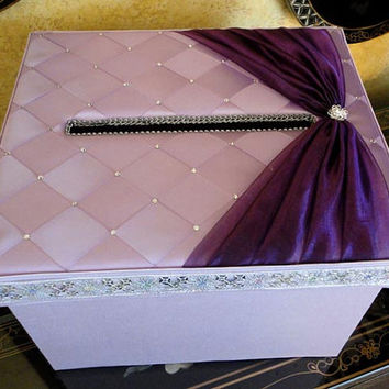 Lavender Purple or Custom Made to your Colors Wedding Card and Money Box, Sweet 16, Quince Gift Box