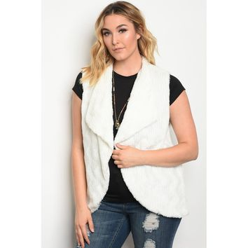 Plus Size White Faux Fur Vest Top