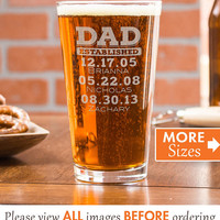 Fathers Day Gift, Dad Est, Gift For Dad, Dad Established Glass, Gift From Wife, Personalized Beer Glass, Custom Pint Glasses, Cheers