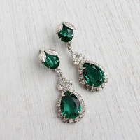 Vintage Rhinestone & Emerald Glass Clip On Earrings -  Silver Tone Dangly Bridal Costume Jewelry / Green Dangle