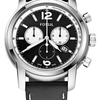Men's Fossil Swiss Chronograph Leather Strap Watch, 45mm