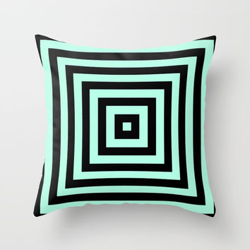 Graphic Geometric Pattern Minimal 2 Tone Infinity Square Shapes (Mint Minty Green & Black) Throw Pillow by AEJ Design