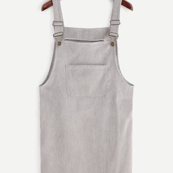 Grey Corduroy Overall Pocket Dress