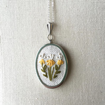 Embroidered Yellow Honeysuckle Flower Necklace Embroidery Jewelry Flower Pendant or Brooch