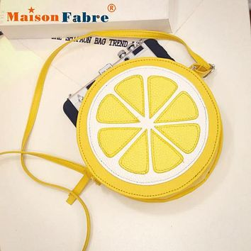 Women Messenger Bag Ladies Girls Pu Leather Lovely Personality Round Lemon Shoulder Bag Female  Elegant Crossbody Bags  Nov28
