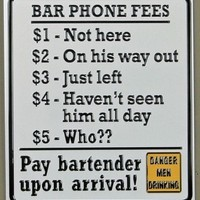 Bar Phone Fees | Sign | Embossed | Tin | Funny | Vintage | Nostalgic | A Simpler Time | A Simpler Time