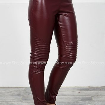 Faux Leather Moto Leggings | Wine