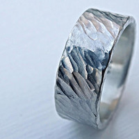 rustic celtic ring silver, tree bark textured ring, mens forged ring, rugged silver ring, bold mens ring silver, rugged wedding band men