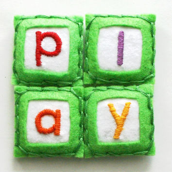 play - hand embroidered magnets, ecofriendly felt fabric magnet, alphabet letter magnet for fridge or office (set of 4)