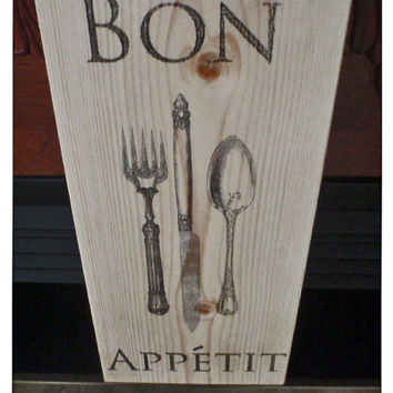 Kitchen sign, home decor,  kitchen decor, Bon Appetit Sign, French kitchen sign, wooden kitchen sign, kitchen signs,  FREE SHIPPING