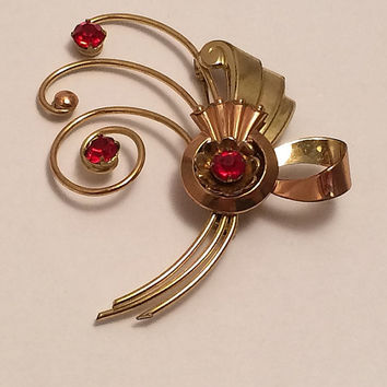 Harry Iskin Brooch 12K Gold Filled Ruby Red Rhinestones Art Deco Pin Fine Jewelry Round Stones Marked Gorgeous Antique 1940s Retro Rare Gems