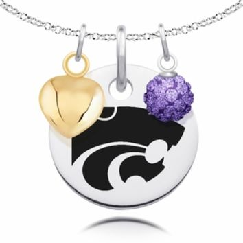 Kansas State Wildcats Necklace with Heart and Crystal Ball Accents. Collegiate Jewelry