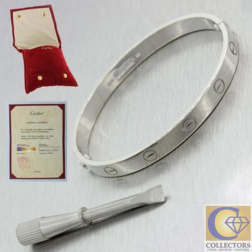 One-nice? Cartier 18k Solid White Gold Love Bangle Bracelet size 17 Papers Pouch
