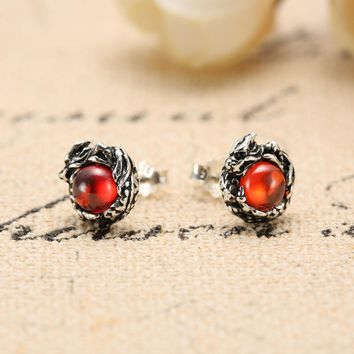 Genuine 100% Pure 925 Sterling Silver Dragon Stud Earrings 925 Silver Punk Earrings for Men Garnet Stone Men Jewelry HYE-02