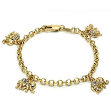 Gold Layered 03.63.1355.06 Charm Bracelet, Elephant and Rolo Design, with White Crystal, Polished Finish, Gold Tone