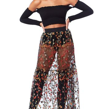 Wrapped Around Flowers Sheer Tulle Maxi Skirt