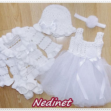 Crochet baby dress, headband, cardigan hat and shoes set 0-18 month