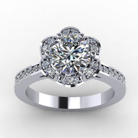 white gold diamond moissanite engagement ring.  style 15W14DM