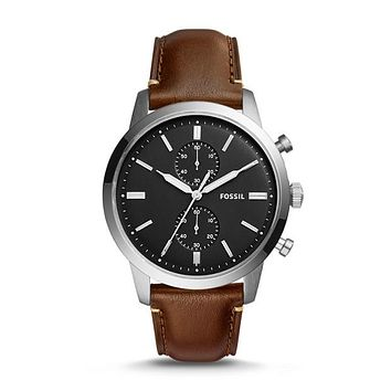 Townsman Chronograph Watch, Chocolate | FOSSIL