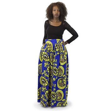 African Maxi Skirt - Floral Blue and Yellow