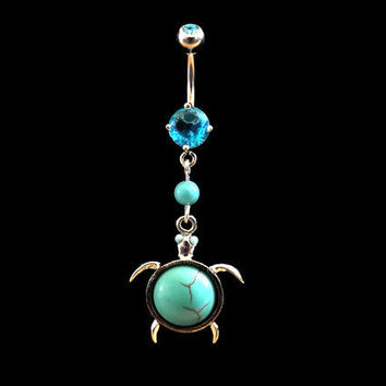 Turtle Turquoise Belly Ring With Turquoise Bead