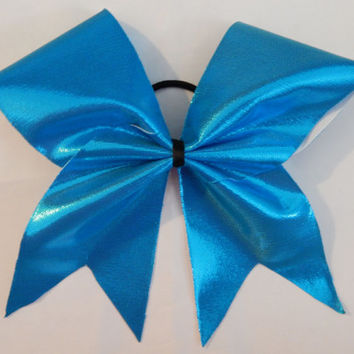 Super Cute Sparkly Blue Lycra Cheer Bow