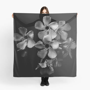 'Oleander flowers in black and white' Scarf by VanGalt