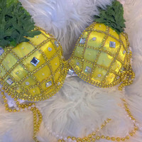 LED Pineapples (Regular bra): festival, edm, edc, carnival, Halloween, rave bra, Gogo, fruit, costume, belly dancer, coachella, fashion