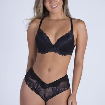 Black Date Racerback Push-up Bra and Cheeky Panty