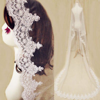 1.5M Long Single Layer Bride Wedding Bridal Veil with French Lace Trim